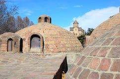 Abanotubani - het Hete district van Zwavelbaden in oud Tbilisi Stock Foto's