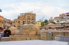 Abanotubani is het oude district van Tbilisi, Georgië Stock Afbeelding