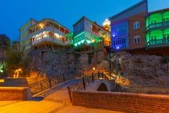 Abanotubani område på natten, Tbilisi, Georgia Arkivbild