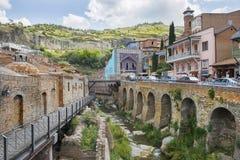 Abanotubani, secteur antique de Tbilisi, la Géorgie, connue pour ses bains sulfuriques Image libre de droits