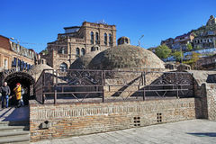 Abanotubani - secteur de Bath - est le secteur antique de Tbilisi, la Géorgie, connue pour ses bains sulfuriques Image stock