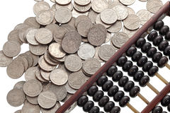 Abaque avec des pièces de monnaie Images stock