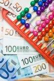 Abaque coloré et argent européen Photos libres de droits