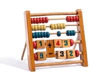 Abaque en bois avec des nombres et des compteurs Photographie stock