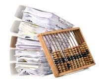 Abaque mathématique de calculatrice avec des papiers Images libres de droits