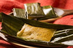 Abara, African food on banana leaf.  Royalty Free Stock Photography