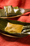 Abara, African food on banana leaf.  Royalty Free Stock Photo