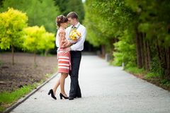 Abarcamiento de los pares de la boda Recienes casados en bosque de la maravilla Fotos de archivo