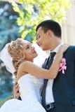 Abarcamiento de novia y del novio Imagen de archivo