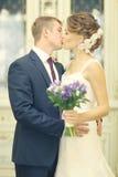 Abarcamiento de novia y del novio de la foto de la boda Fotografía de archivo