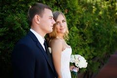 Abarcamiento de pares de la boda Imagen de archivo