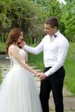Abarcamiento de pares de la boda Imagenes de archivo