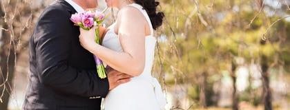 Abarcamiento del tema de la boda, de novia y del novio Imagenes de archivo