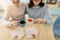 Abarcamiento lesbiano sonriente feliz de las hembras Foto de archivo libre de regalías