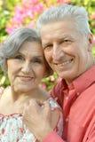 Abarcamiento mayor feliz de los pares Foto de archivo libre de regalías