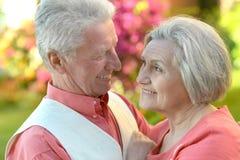 Abarcamiento mayor feliz de los pares Imagen de archivo