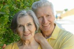 Abarcamiento mayor feliz de los pares Imagen de archivo libre de regalías