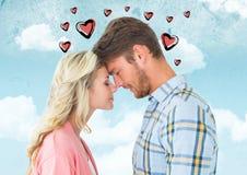 Abarcamiento romántico de los pares cara a cara Fotografía de archivo libre de regalías