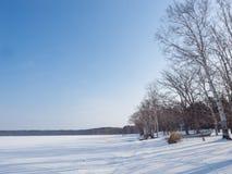 Abashiri湖覆盖物在冬天雪,北海道,日本之前 免版税图库摄影