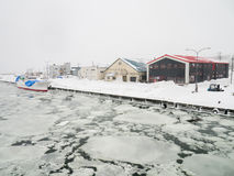 Abashiri Port with Drift Ice in Abashiri, Japan. 