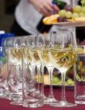 Abastecimento - fileira dos vidros com vinho Fotografia de Stock Royalty Free