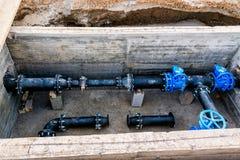 Abastecimiento de agua en la construcción Foto de archivo