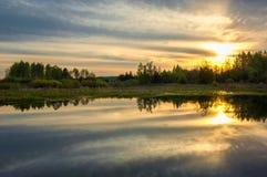 Abastecimiento de la primavera Un paisaje hermoso de la primavera con un pantano, Sunr Foto de archivo