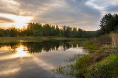 Abastecimiento de la primavera Un paisaje hermoso de la primavera con un pantano, Sunr Fotos de archivo