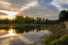 Abastecimiento de la primavera Un paisaje hermoso de la primavera con un pantano, Sunr Imagenes de archivo