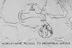 Abastecimiento del acceso mundial al agua potable: el mundo en una d Fotos de archivo