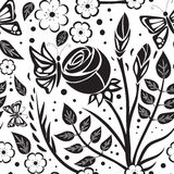 Abastract monochrome seamless pattern. Black pattern on a white background royalty free illustration