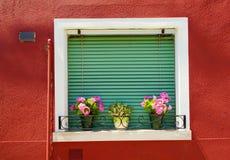 Abat-jour et fleurs de fenêtre Photos stock