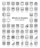 Abat-jour et nuances Volets de fenêtre et rideaux en panneau EL à la maison de décor illustration libre de droits