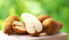 Abate Fetel pears on table Royalty Free Stock Photo