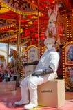 Abattoir worker on horse carousel, Dismaland Royalty Free Stock Photos