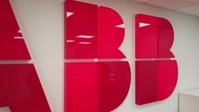 ABB company logo in the office stock video