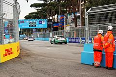 Abb Formula-E Championship in Rome. Formula E returns to the 2.84km Circuito Cittadino dell'EUR for the second time in the series history. The Circuito royalty free stock images