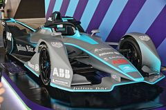Abb Formula-E Championship in Rome. Formula E returns to the 2.84km Circuito Cittadino dell'EUR for the second time in the series history. The Circuito royalty free stock photo