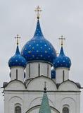 Abóbadas azuis ortodoxos do russo da catedral da natividade Imagens de Stock