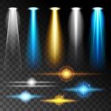 Abbagliamento blu luminoso di lustro leggero realistico stabilito delle lampade, varie forme e proiezioni su fondo scuro Illu ast Fotografie Stock