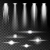 Abbagliamento luminoso di lustro leggero realistico stabilito delle lampade, varie forme e proiezioni su fondo scuro Vettore astr Fotografia Stock