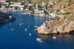 Abbai nelle barche di Mar Nero Balaclava sull'acqua immagini stock libere da diritti