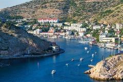 Abbai nelle barche di Mar Nero Balaclava sull'acqua fotografia stock libera da diritti