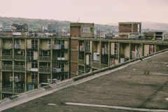 Abbandonato imbarcato sugli appartamenti, collina del parco, Sheffield, Yorkshir del sud Fotografie Stock
