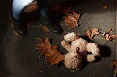 Abbandoned-Teddybär in den Blättern im Nachtpark Stockfoto
