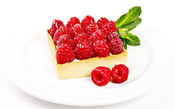 Deserto con i rasberries e la menta Immagini Stock