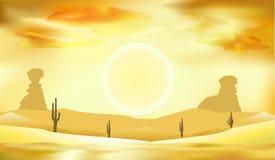 Abbandoni il paesaggio, le dune e l'illustrazione di vettore del fondo del sole Immagini Stock