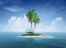 Abbandoni l'isola tropicale con la palma, chaise longue. Concetto per resto, feste, località di soggiorno, viaggio. Fotografia Stock