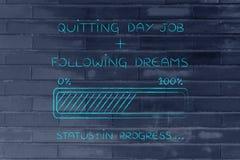 Abbandono del lavoro di giorno dopo caricamento dell'indicatore di stato di sogni Fotografia Stock Libera da Diritti