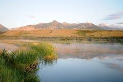 Abbassi il lago Canada Waterton Fotografie Stock Libere da Diritti